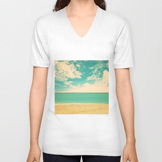 Retro Beach V-neck T-shirt