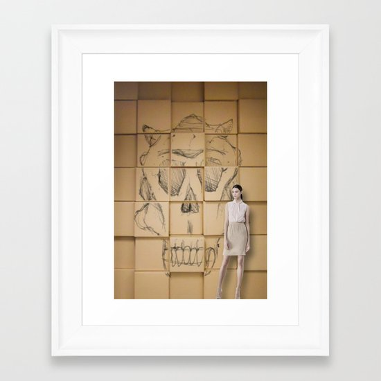 Space in Boxes with a model Framed Art Print