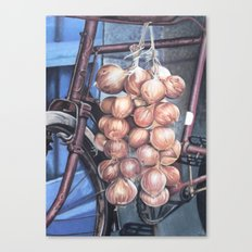 Bicycle with Onions Canvas Print