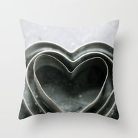 Hearts Together - Vintage Bakeware  Throw Pillow
