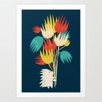 Hedgehog With Flowers Art Print