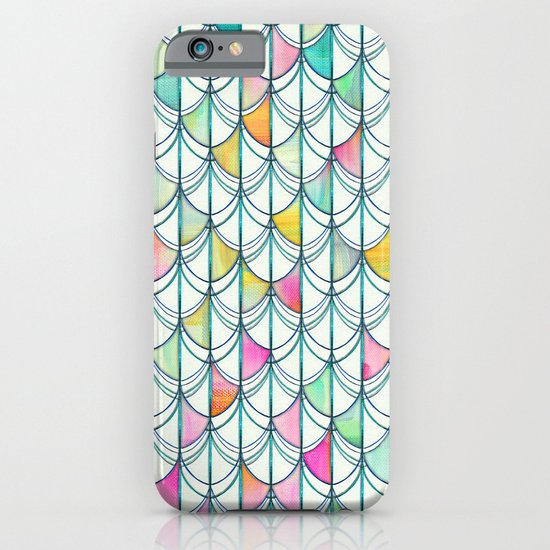Pencil & Paint Fish Scale Cutout Pattern - white, teal, yellow & pink iPhone & iPod Case