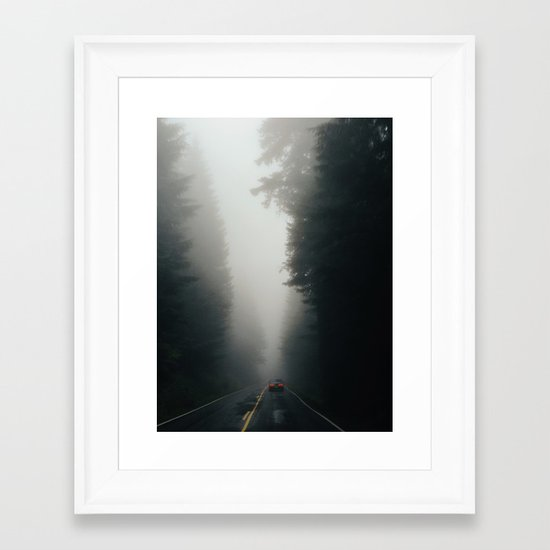 Dark Forest Driving Framed Art Print