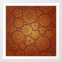 Warm Gold Paisley Pattern Art Print