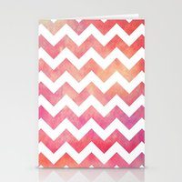 Watercolor Chevron. Stationery Cards
