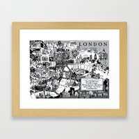 Map of London Art Landmarks Framed Art Print