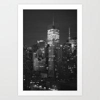 New York City Night Scene Art Print