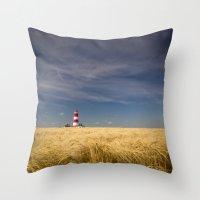 Happisburgh Lighthouse Throw Pillow