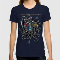 Ancient Ninja Xenomorphs Womens Fitted Tee Navy SMALL
