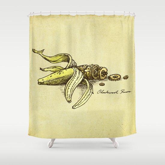 Clockwork Banana Shower Curtain