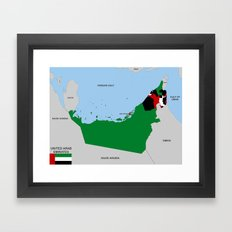 political map of united arab emirates country with flag Framed Art Print