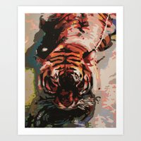 Tiger In The Water Paint… Art Print