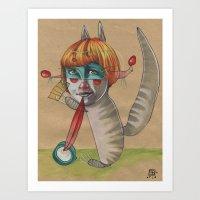 CAT CLOWN Art Print