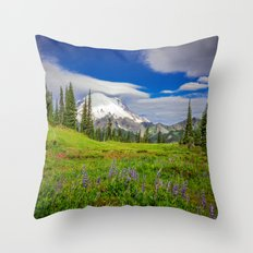 Mt Rainier and Wildflowers Throw Pillow