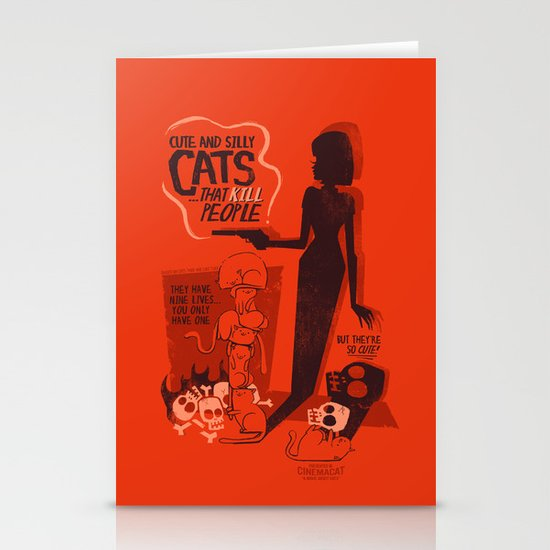 Cat Movie - orange Stationery Card