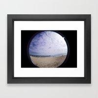 Beach through the eye of a fish Framed Art Print