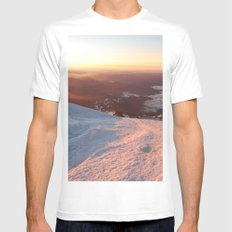Sunrise above the earth - 14,411 feet Mt. Rainier SMALL Mens Fitted Tee White