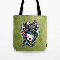 Paris girl in green Tote Bag