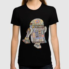 R2D2 crashed into a flower shop Womens Fitted Tee Black SMALL