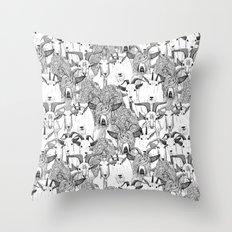 just goats black white Throw Pillow