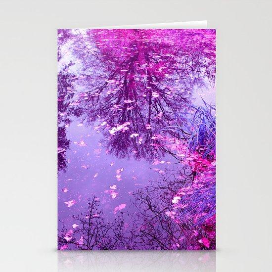 purple garden pond II Stationery Card