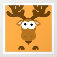 Minimal Moose Art Print