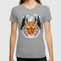 The Siberian Tiger Womens Fitted Tee Tri-Grey SMALL