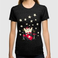Hit The Drums!  Womens Fitted Tee Tri-Black SMALL