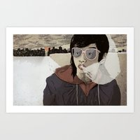 Walking The Winter Stree… Art Print