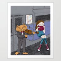 The Cat & the Fiddle on the Subway Art Print