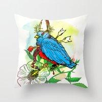 Bad Bad Birdy Throw Pillow