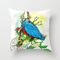 Bad Bad Birdy Throw Pillow