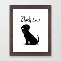 Black Lab - Cute Dog Ser… Framed Art Print