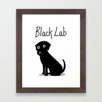 Black Lab - Cute Dog Ser… Framed Art Print