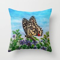 Chequered Swallowtail  Throw Pillow