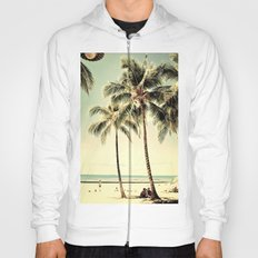 Retro Vintage Palm Tree with Hawaii Summer Sea Beach Hoody