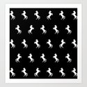 Black And White Unicorns Art Print