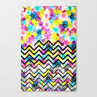 Canvas Print featuring BLACK CHEVRON WITH FLOWERS by Ylenia Pizzetti