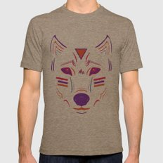 Eighties Wolf Mens Fitted Tee Tri-Coffee SMALL