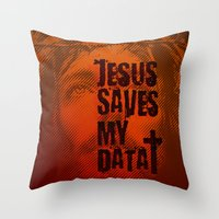 Jesus saves my data Throw Pillow