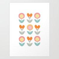 Whimsical flower print Art Print