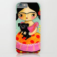 Frida with Black Pug dog by TASCHA iPhone 6 Slim Case