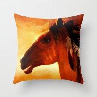 HORSE - Apache Throw Pillow