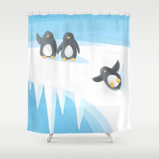 Penguin Playground Shower Curtain