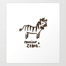 Monsieur Zebra  Art Print