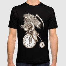Father Time on a Penny Farthing SMALL Black Mens Fitted Tee