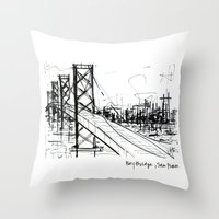 SF Bay Bridge Throw Pillow