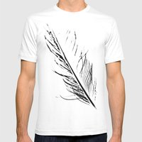 Peacock Feather 4 Mens Fitted Tee White SMALL