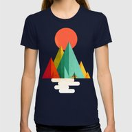 Little Geometric Tipi Womens Fitted Tee Navy X-LARGE
