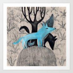 Beware, rabbit! Three wild dogs.  Art Print